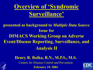 Overview of Syndromic Surveillance