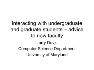 Interacting with undergraduate – advice and graduate students to new faculty