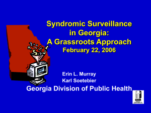 Syndromic Surveillance in Georgia: A Grassroots Approach