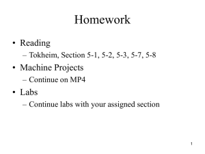 Homework • Reading • Machine Projects • Labs