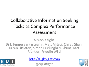 Collaborative Information Seeking Tasks as Complex Performance Assessment