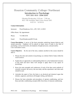 pscy 2301 Central texas college psychology 2301 general psychology i introduction a general psychology is a survey of the major psychological topics, theories, and.