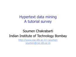 SLIDES: Hypertext Data Mining: A Tutorial Survey