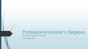 Professional Master's Degrees South Dakota State University 8-October-2015