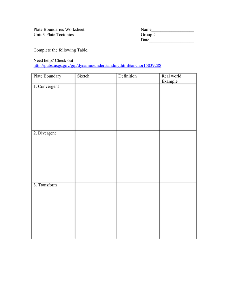 Plate Boundary Worksheet