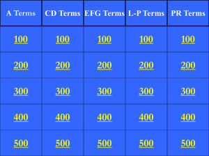 Water Treament Vocabulary Jeopardy