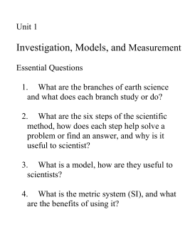 Unit 1 Essential Questions