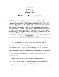 What is the value of homework Issue Paper SED 625SC Carole Smith
