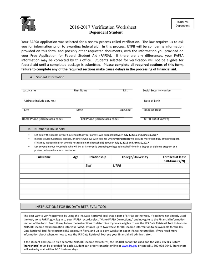 Dependent Verification Worksheet