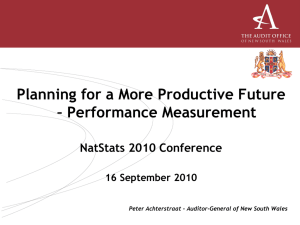 Planning for a More Productive Future – Performance Measurement NatStats 2010 Conference
