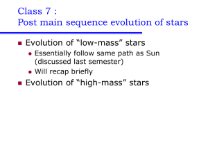 Class 7 : Post main sequence evolution of stars