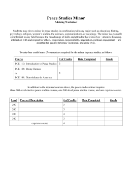 peace studies minor advising worksheet