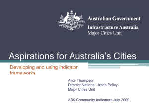 Aspirations for Australia's Cities Developing and using indicator frameworks Alice Thompson