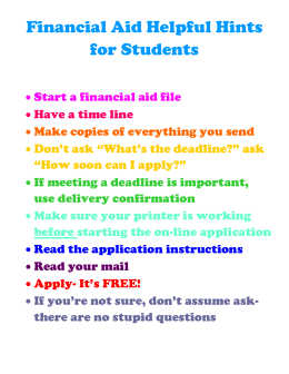 Financial Aid Helpful Hints for Students  