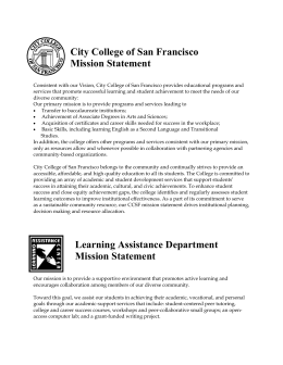 City College of San Francisco Mission Statement