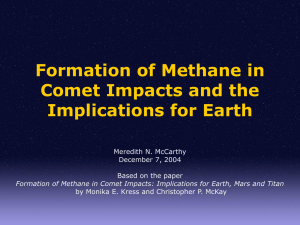 Formation of Methane in Comet Impacts and the Implications for Earth