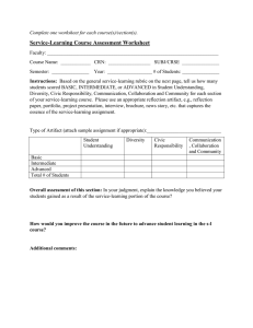 Service-Learning Assessment Rubric Worksheet