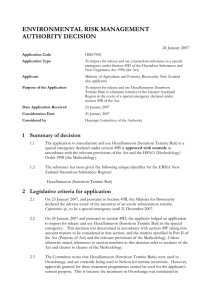 ENVIRONMENTAL RISK MANAGEMENT AUTHORITY DECISION  26 January 2007