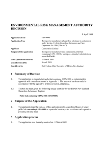 ENVIRONMENTAL RISK MANAGEMENT AUTHORITY DECISION 9 April 2009