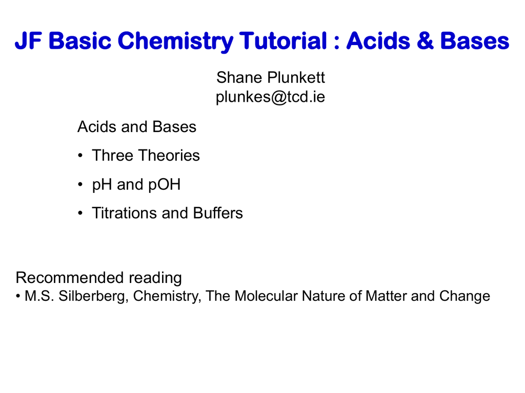 Tutorial 6 Acids and Bases – Ph and Poh Worksheet