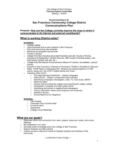San Francisco Community College District Communications Plan