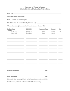 Grant Funded Scholarship/Stipend/Fee Waiver Form