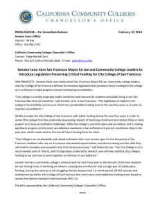PRESS RELEASE Sen Leno Bill on Fiscal Stabilizationfor CCSF - FINAL (2-10-14).doc