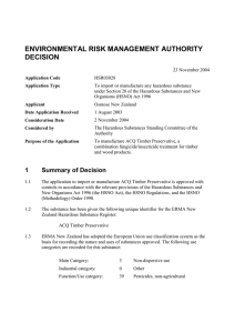 ENVIRONMENTAL RISK MANAGEMENT AUTHORITY DECISION