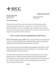 SFCC to Present Televised Presidential Debates, Public Forums