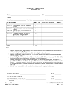 Science Endorsement Program Sheet