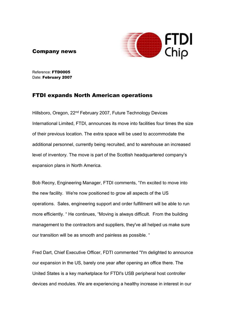 FTDI expands North American operations (Ref: FTD0005)