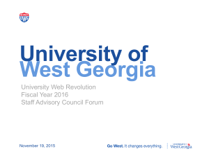 University of West Georgia University Web Revolution Fiscal Year 2016