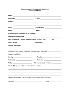 Student Assistant Employment Application {Department Name}  _______________________________________________________________