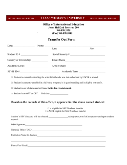 Transfer Out Form Office of International Education TEXAS WOMAN'S UNIVERSITY