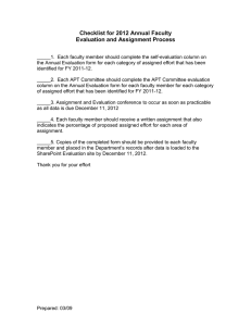 Checklist for 2012 Annual Faculty Evaluation and Assignment Process