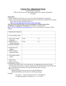 Course Fee Adjustment Form