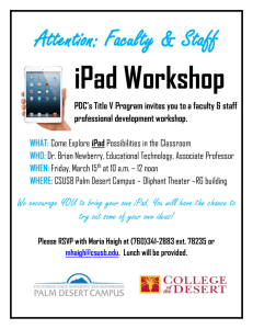 iPad Workshop Attention: Faculty & Staff