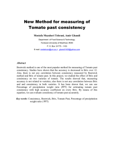 New Method for measuring of Tomato past consistency