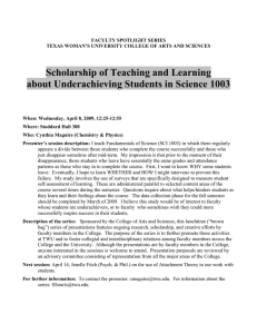 Scholarship of Teaching and Learning About Underachieving Students in Science 1003