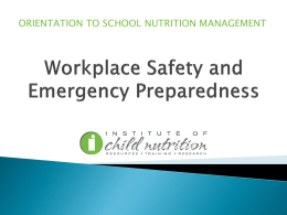 ORIENTATION TO SCHOOL NUTRITION MANAGEMENT