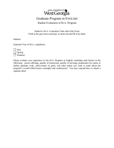 Graduate Program in E  NGLISH Student Evaluation of M.A. Program