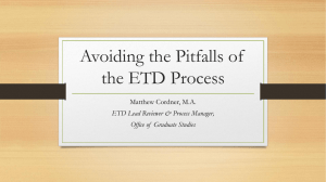 Avoiding the Pitfalls of the ETD Process