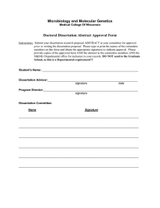 Microbiology and Molecular Genetics Doctoral Dissertation Abstract Approval Form