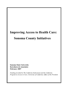 Improving Access to Health Care: Sonoma County Initiatives