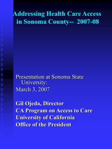 Addressing Health Care Access in Sonoma County -- 2007-08