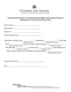 Guaranteed Summer Funding/ Human Rights Internship Program Employment Verification Form 2013