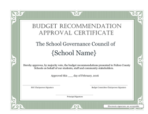 {School Name} BUDGET RECOMMENDATION APPROVAL CERTIFICATE