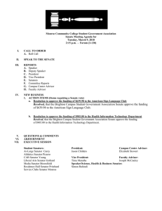 Monroe Community College Student Government Association Senate Meeting Agenda for
