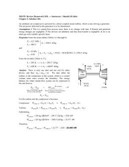 An adiabatic air compressor is powered by a direct-coupled steam... ME470  Review Homework SOL --- Instructor : Shoeleh Di... Chapter 5, Solution 184.