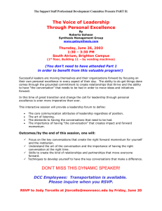 The Voice of Leadership Through Personal Excellence  Thursday, June 26, 2003